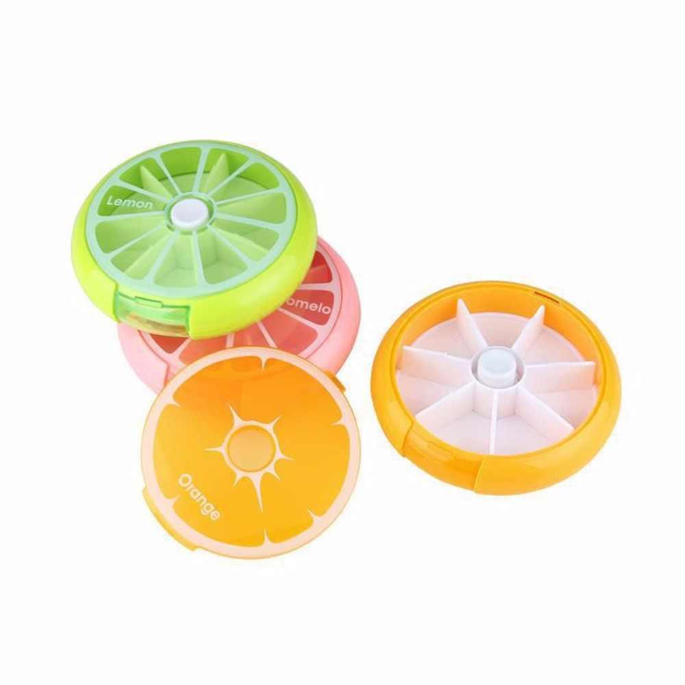 حبة مربع الفاكهة على شكل فيتامين 7 يوم أسبوعي الطب صغيرة مستديرة اللوحي حقيبة للتخزين الحاويات حالات السفر جولة الرعاية الصحية