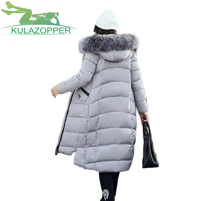 Women Long Parka 2017 New Winter Solid Hooded Slim Thick Warm Down Cotton Padded Coat For Female Fur Collar Outwear KY067 women elegant winter warm long coat down padded jacket slim fur collar hooded parka coats 2017 female slim long parka with belt