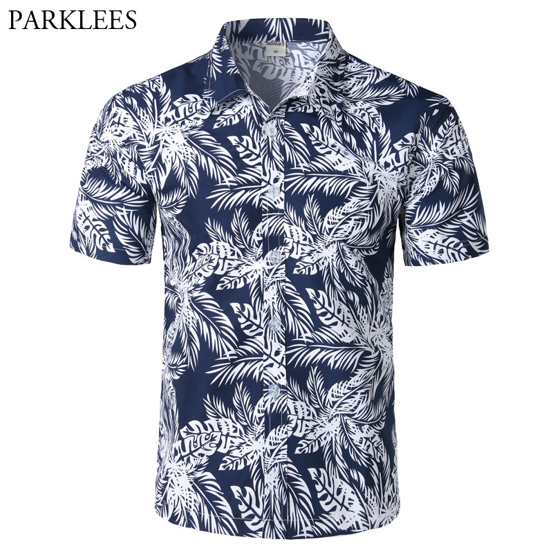 Mens Hipster Summer Short Sleeve Beach Hawaiian Shirt 2018 Brand New Cotton Casual Floral Shirts Slim Fit Camisas Para Hombre