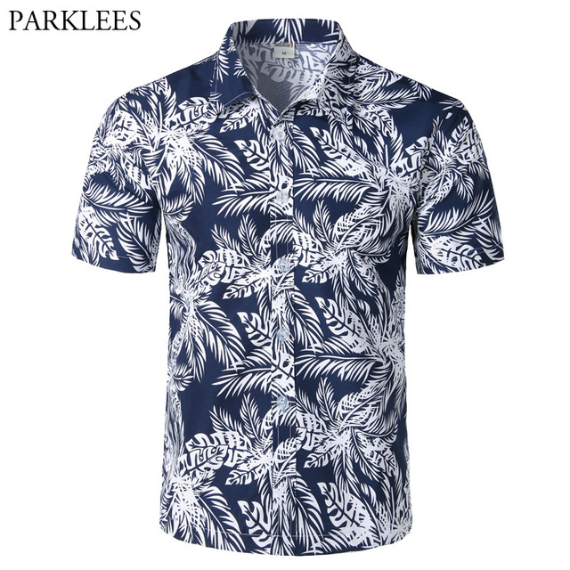 2df44f7a9f4 Mens Hipster Summer Short Sleeve Beach Hawaiian Shirt 2018 Brand New Cotton  Casual Floral Shirts Slim Fit Camisas Para Hombre
