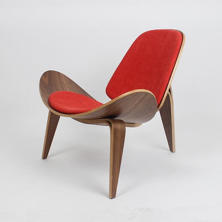 Hans Wegner Stil Drei Legged Shell Stuhl Nussbaum Sperrholz Leinen Stoff  Kissen Wohnzimmer Möbel Moderne