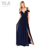 Yilia 2016 New Women Sexy Long Dress Dark Blue Plain Split Dramatic Off Shoulder Strapless Backless