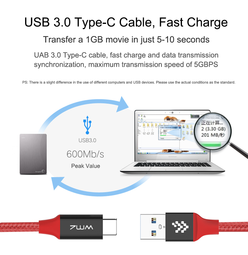 USB Type-C 3.0 Red Braided Cable 4