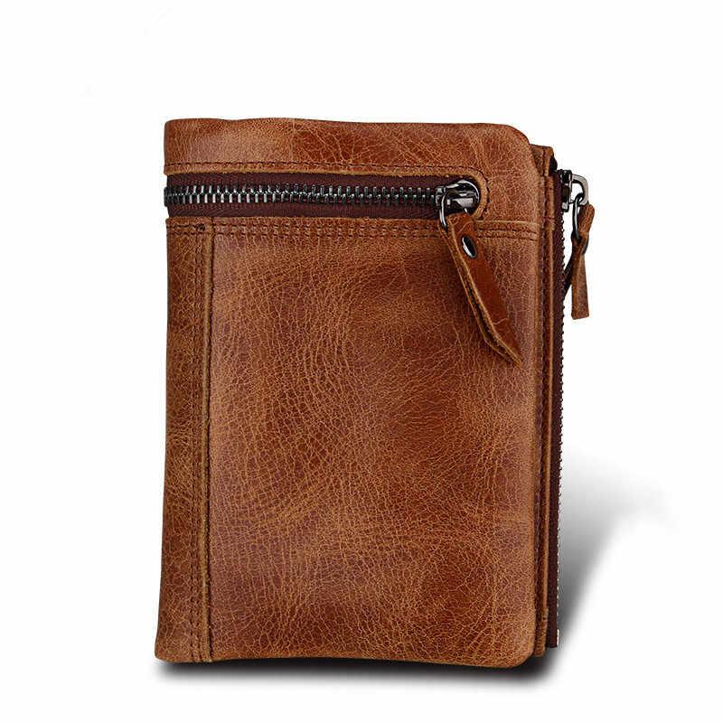 Фирменная Новинка кошелек Для мужчин из натуральной кожи Hasp короткие кредитной держатель для карт маленькое отделение для монет кошелек, бумажник на молнии кошелек для Для мужчин