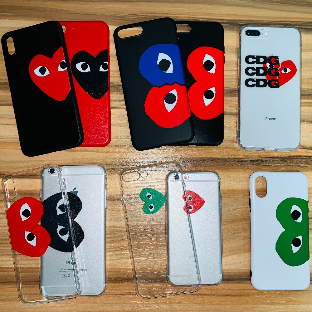 CDG play Comme des Garcons Street trend Soft Case for iPhone 7 7Plus 8 8Plus X XS XR XS Max 6 6Plus 6s 6sPlus phone cover shell