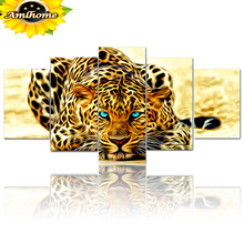 """Aml Home 5D DIY Full Round Diamond Painting """"Animal Leopard"""" Multi-picture Combination 3D Embroidery Cross Stitch Mosaic Decor"""