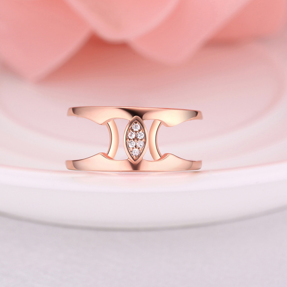ERLUER New Fashion Crystal Rhinestone Leaf Simple Finger Ring For ...