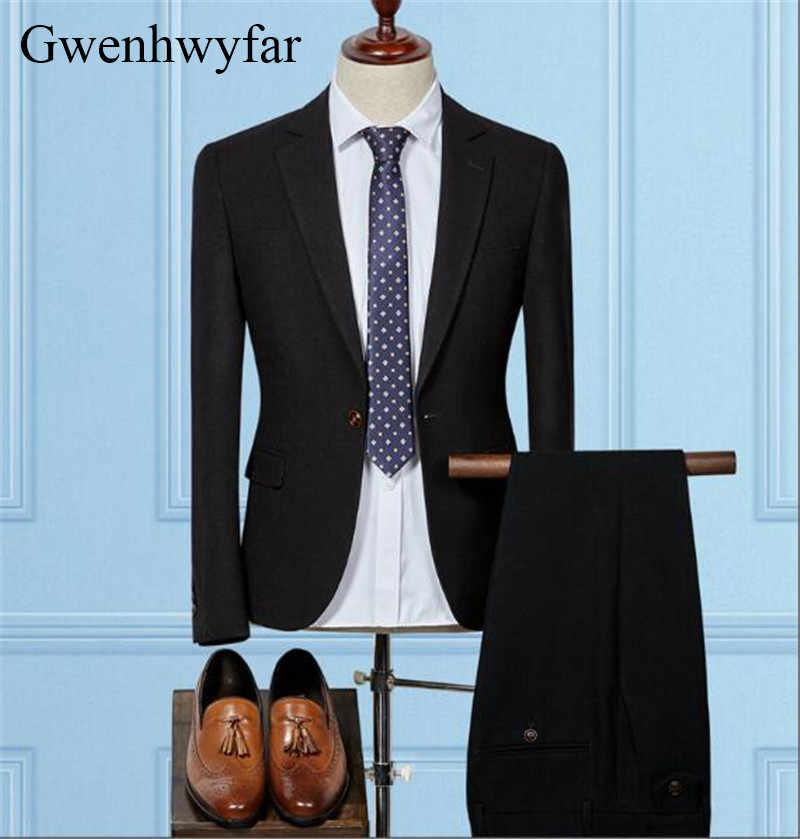Gwenhwyfar新しいファッション男性スーツ黒高級ウェディングドレスフォーマルウエディングスーツ男性タキシードスーツスリムフィット3ピース(ジャケット+ベスト+パンツ)