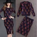 Alpha 2016 Autumn Winter Women Popular Knee Length Split Tail SKirt Suits Kangaroo Print Knitted Wool Sweater Pencil Skirt Sets