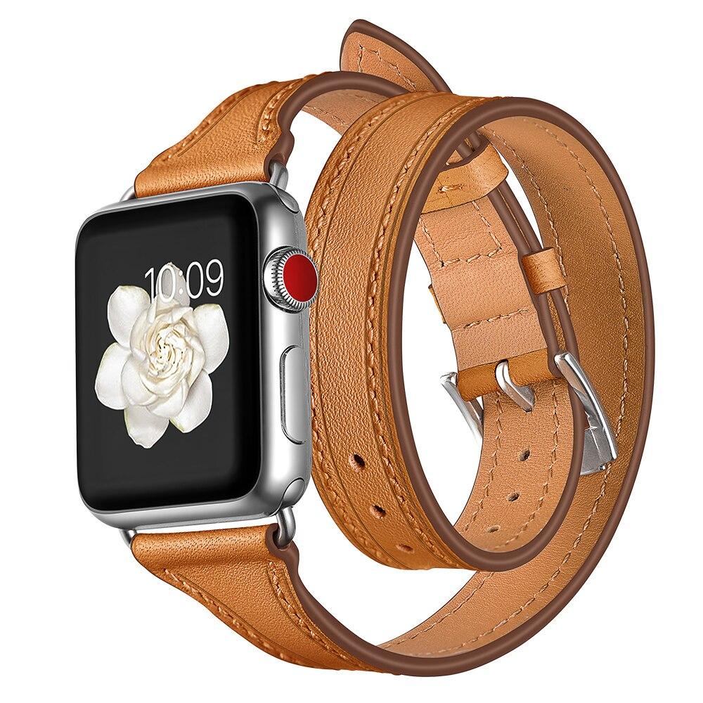 Lederband Für Apple uhr band aplle uhr correa 44mm 40mm 38/42mm Armband Handgelenk gürtel doppel Tour Schleife iWatch Serie 3 2 1