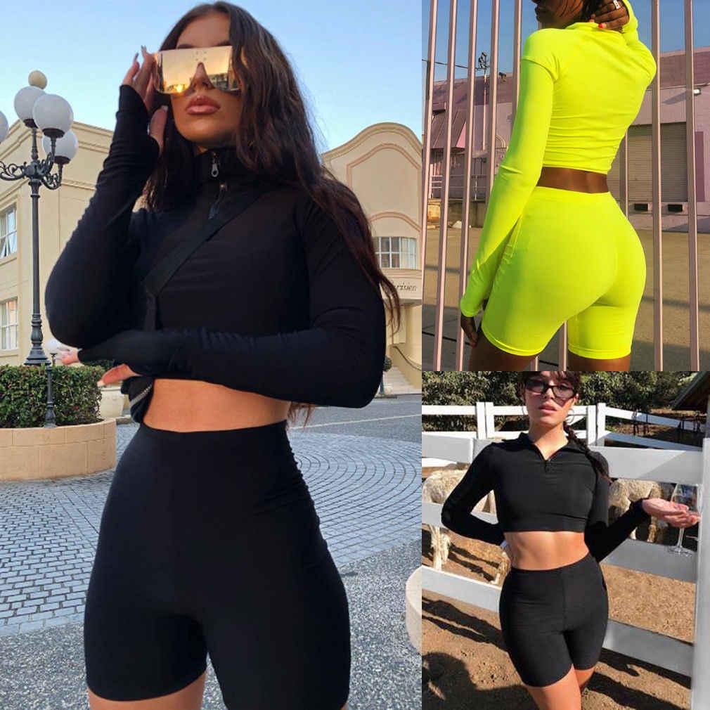 Fashion Wanita 2 Pcs Baju Olahraga Sweatshirt Kasual Olahraga Suit Set Lengan Lengan Lengan Lengan Panjang Crop Top Tinggi Pinggang Pendek Panas pakaian Set