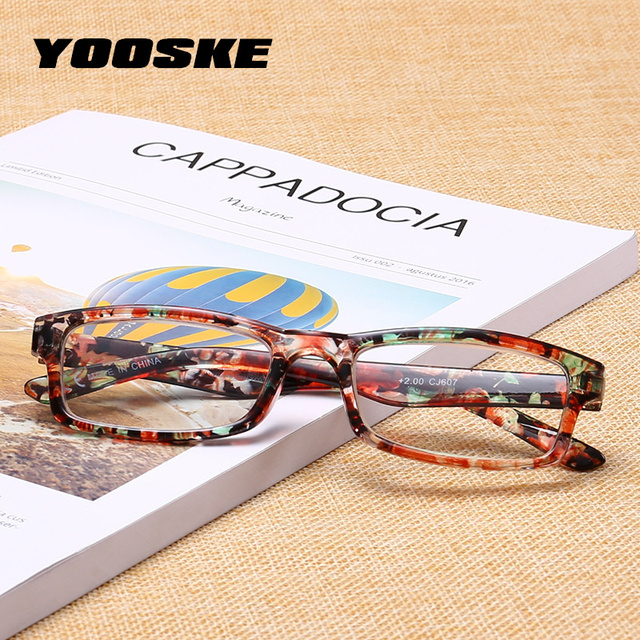YOOSKE Small Frame Reading Glasses Women Men Toughness Unbreakable Eyeglasses Transparent Lens with Diopter Flower Frame