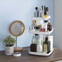 Plastic Makeup Organizers 360 Degree Rotation Cosmetic Storage Box Makeup Tools Holder Organizador 21 21 39cm