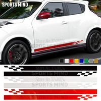 1 Pair Door Side Stripe Car Sticker Decal Automobiles Car Styling For Nissan Juke R Nismo Stickers For Car Accessories