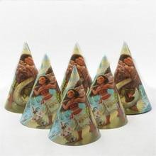 6pcs/lot Cartoon Moana Paper Cap Party Supplies Kids Birthday Baby Shower Decoration Moana Party Supplies Caps