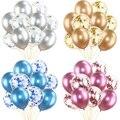 Смешанный цвета: золотистый, серебристый конфетти шары День рождения украшения для взрослых и детей металлический шар Свадьба День рождени...