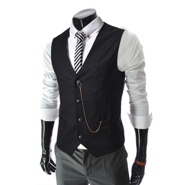 2016 Spring Mens Casual Slim Fit Vest Men Fashion Waistcoat Sleeveless Suit Jacket Coat Gilet Chaleco Hombre AQ80007