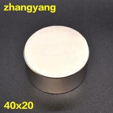 Бесплатная Доставка 1 шт. магнит 40×20 мм N52 Круглый Сильные магниты мощный неодимовый магнит 40×20 мм Магнитная Металл 40*20