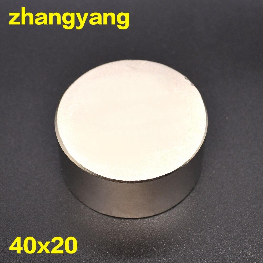 Il trasporto libero 1 pz hot magnete 40x20mm N52 Rotonda forti magneti potente magnete Al Neodimio 40x20mm in metallo Magnetico 40*20