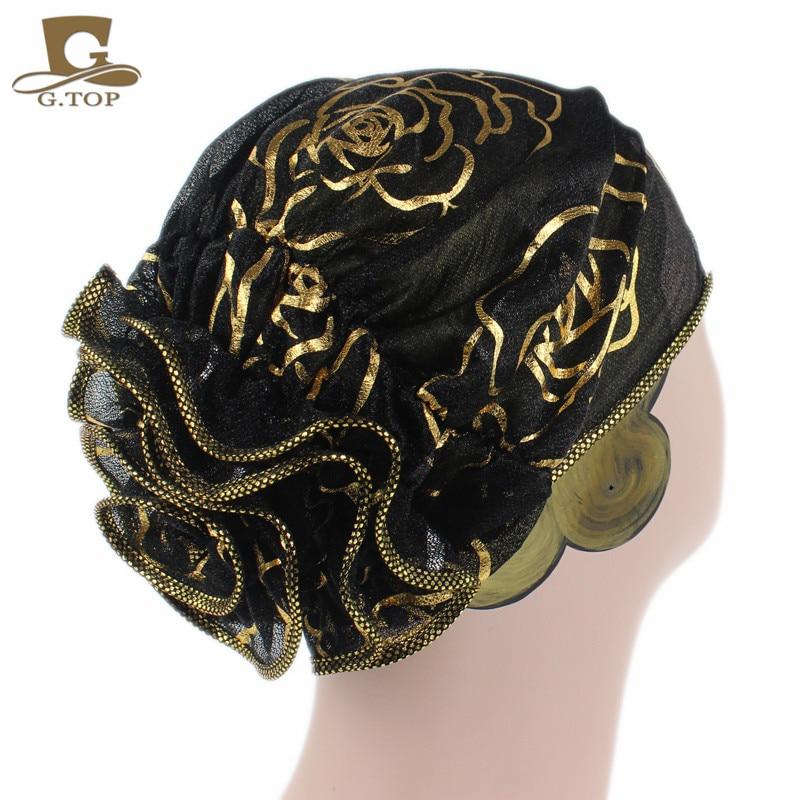 Women black lace Beanie Hat flower Bonnet Chemo Cap Muslim Scarf Hijab Islamic Turban 1 pcs flower bonnet beanie women s hats spring summer floral lace lady turban hat cap hairnet muslims chemo cap
