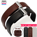 AOTU 15mm Genuine Leather Strap Stainless Steel Folding Buckle Business Sport Bracelet for Huawei B2 Smart Watch Band+Free Tools