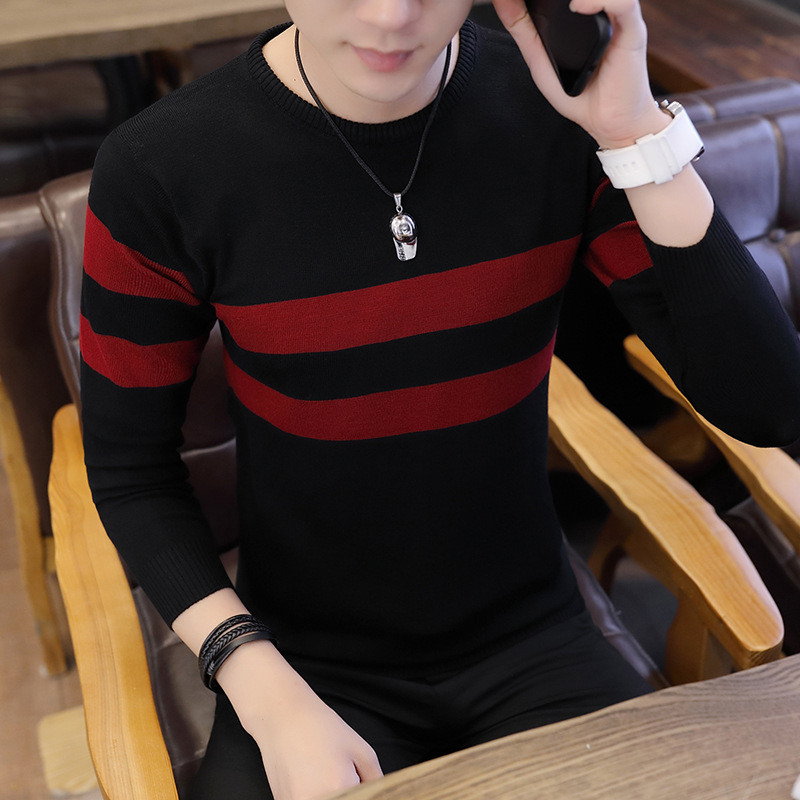 New Autumn Casual Sweater Men O-Neck Striped Slim Fit Knittwear Mens Sweaters Pullovers Long Sleeve Pullover Sweaters For Men