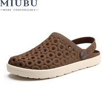 MIUBU 2019 Men Sandals Summer Beach Shoes Breathable EVA Casual Fashion Slip on Summer Hollow Jelly men's Flats Water Sandalias цена
