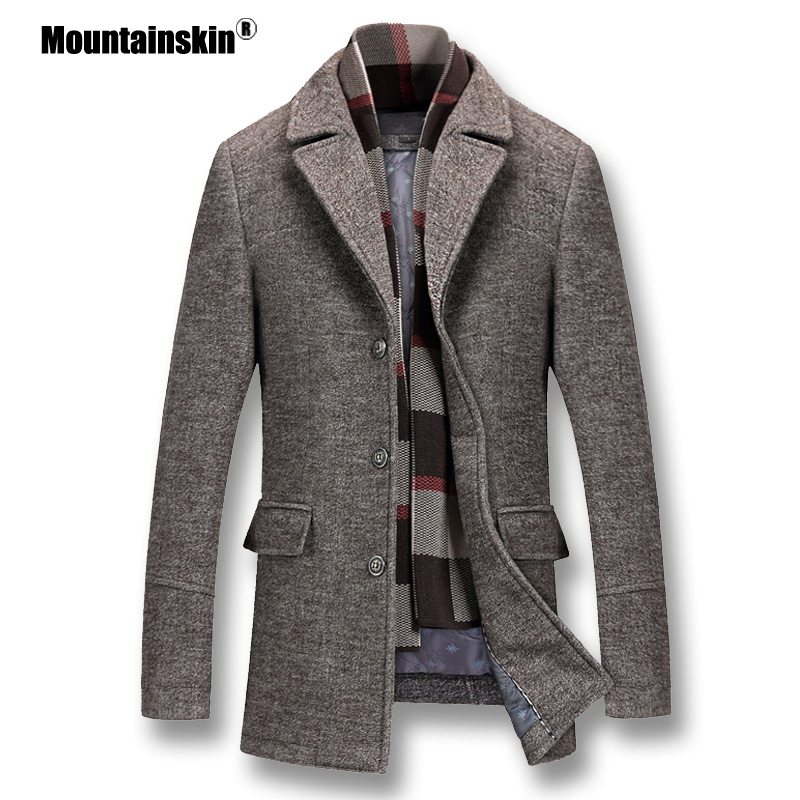Mountainskin Men's Winter Coats Thick Cotton Wool Jackets Male Casual Fashion Slim Fit Nylon Long Jacket Scarf Men Outwear SA605