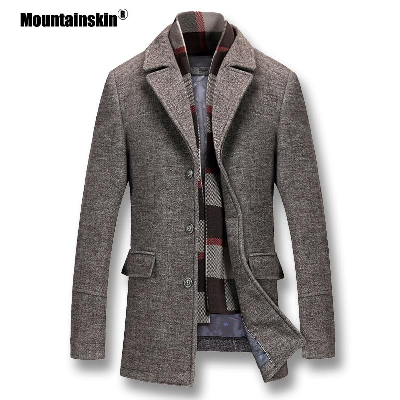 Mountainskin Men's Winter Coats Thick Cotton Wool Jackets Male Casual Fashion Slim Fit Nylon Long Jacket Scarf Men Outwear SA605