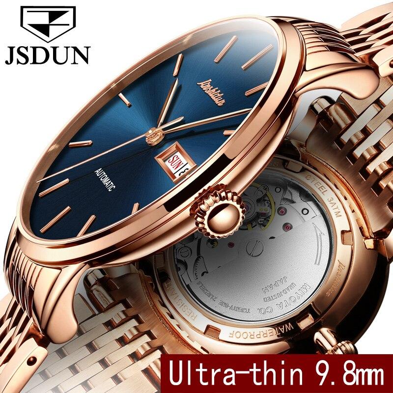 Jsdun Бизнес Механические часы неделю Авто Дата Для мужчин часы Сталь ремень Для мужчин Автоматический Часы подарки Relogio masculino 8812 г ...