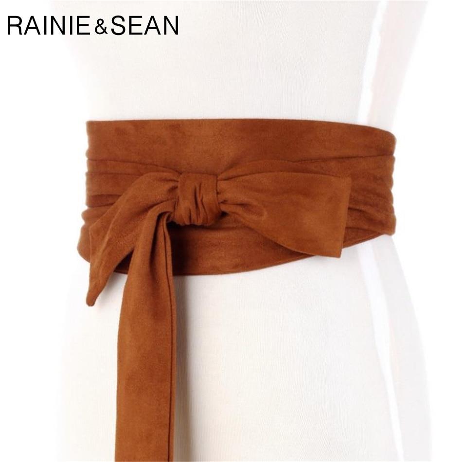 RAINIE SEAN Suede   Belts   Cummerbunds Bow Tie Wide   Belts   For Women Corset Camel Autumn Winter Waist   Belt   Female Waistband