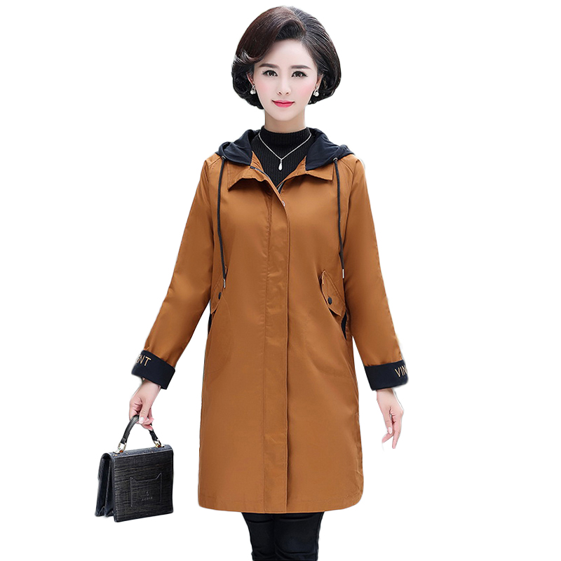 Oversized 2019 Spring Middle-aged Women's Hooded Windbreaker Coats Long Outerwear Casual Female Plus Size   Trench   Coat 4XL NW1175