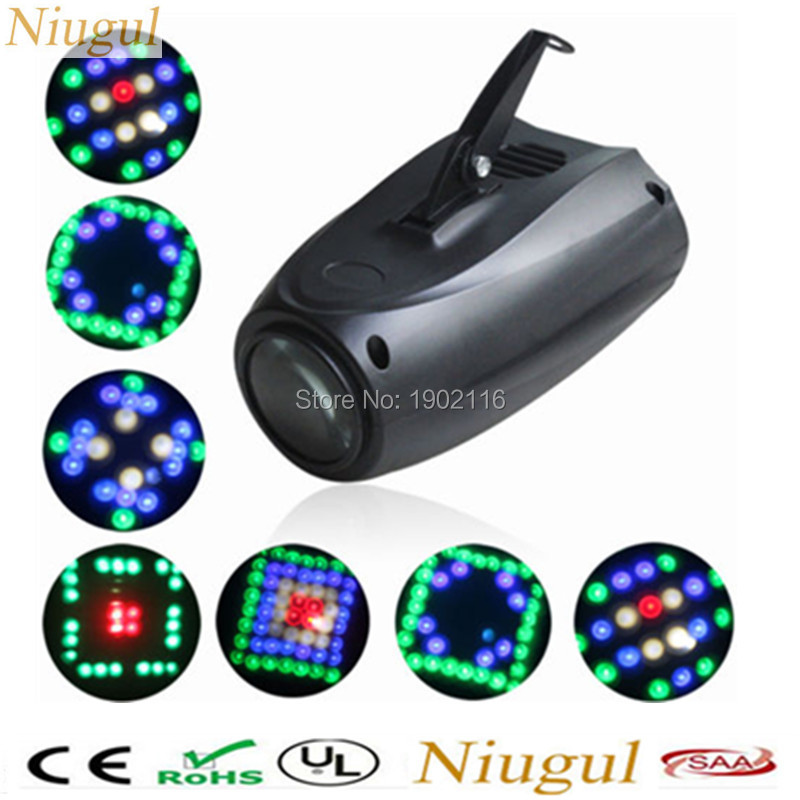 Niugul Sound Active 64 LEDs RGBW MINI Disco Lights Projector for Home Club Party DJ Show Hundreds of Pattern in Stage Lighting portable music auto sound active leds