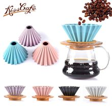 Flowers Ceramic Coffee Cup Espresso Coffee Filter Cup Origami Filter Cups V60 Funnel Drip Hand Cup Filters Coffee Accessories(China)