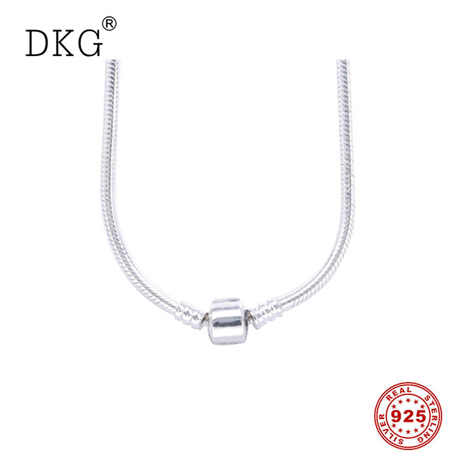 Authentic 100% 925 Sterling Silver Charm Moments Necklace Snake Chain Necklaces Fit Pan Beads Vintage Women DIY Jewelry dorapang 100% 925 sterling silver snake chain necklace fit charm beads for women fashion jewelry diy bracelet factory wholesale