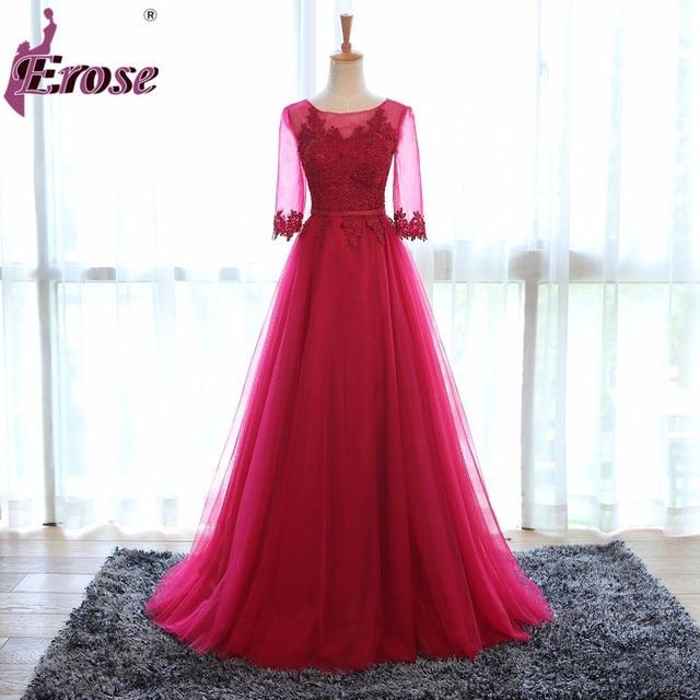Erose Red Evening Dresses 2017 Long Prom Party Gown A Line Robe De Soiree Half Sleeve Formal Dress Lace Up Back Vestido De Festa