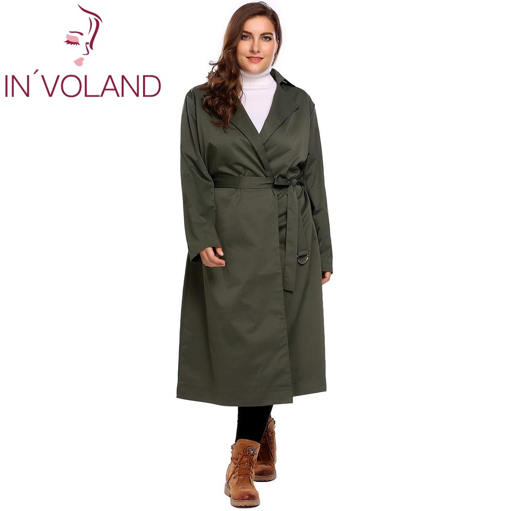 INVOLAND Plus Size L-4XL Women Trench Coat Autumn Winter Long Sleeve Solid Large Overcoat Windbreaker With Belt Big Size