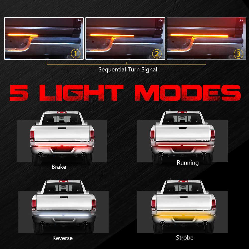 """Mictuning 2 conjuntos 60 """"triple universal tira de alumínio led barra traseira vermelho luz condução sequencial âmbar turn signal luz branca"""