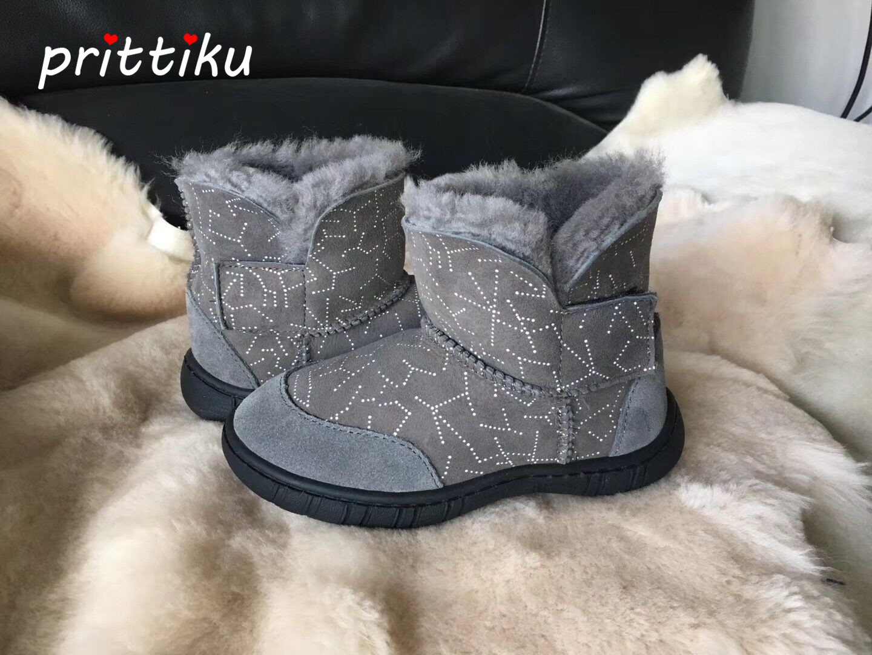 2018 New High Quality Toddler Girls Sheepskin Fur Ankle Snow Boots Little Boys Winter Warm Footwear Big Kids Brand Fashion Shoes