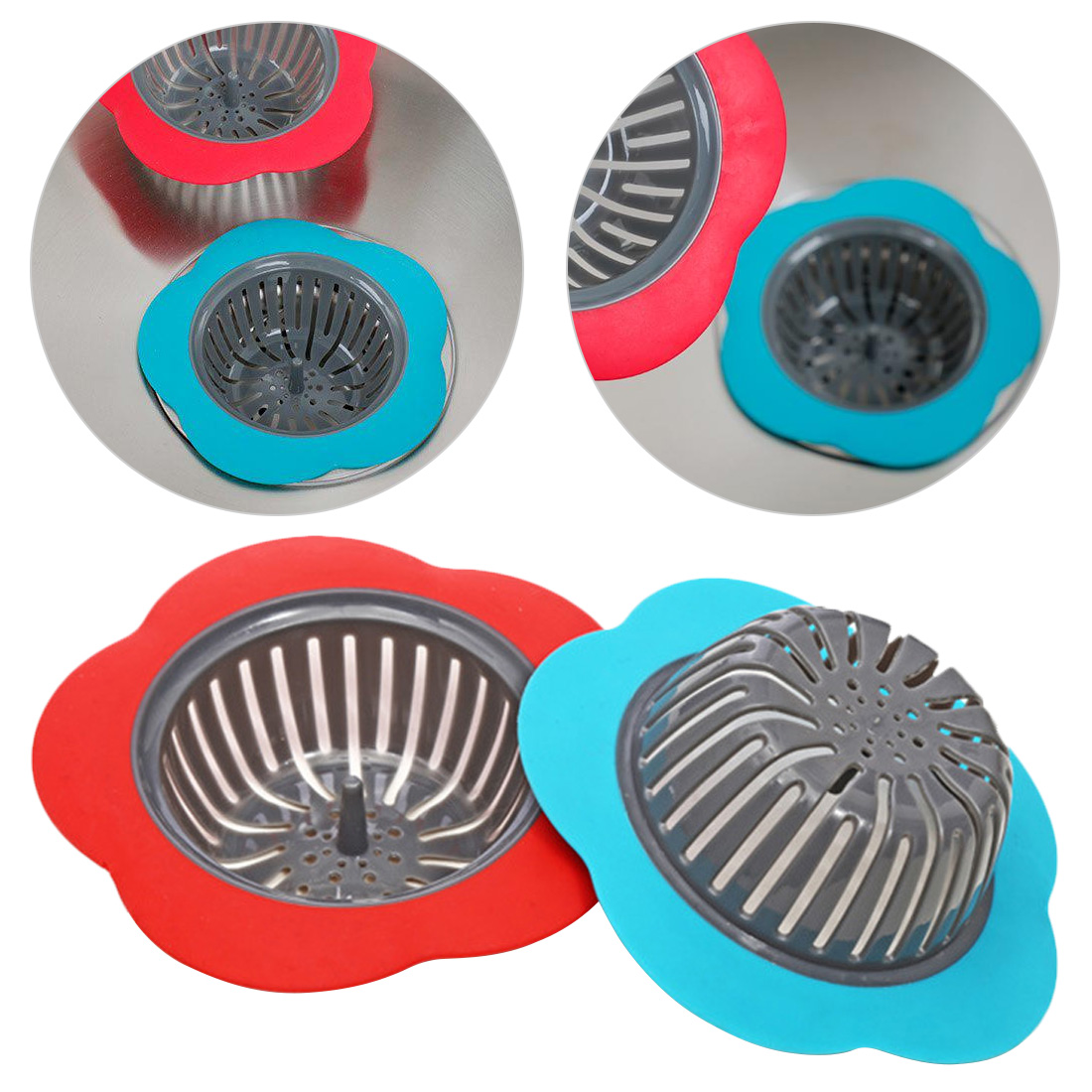 Kitchen Sink Stopper bathtub Hair Filter Flower Shaped Silicone Sink Strainer Shower Sink Drains Cover Drain sink Filter