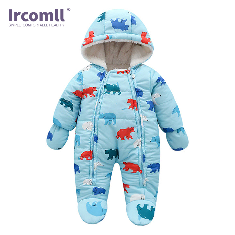 Ircomll 2018 New Born Baby Girl Clothes Toddler Girl Boy Winter Rompers Fall Baby Flower Hooded Jumpsuit Kids Outwear