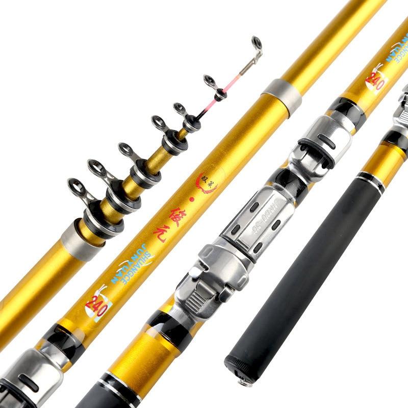 Pole Reel Fish-Tackle Telescopic-Spinning Sea-Fishing-Rod Carbon-Fiber Portable EDF88