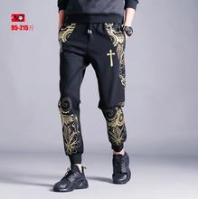 Personalized gold print harem pants mens summer casual pants men's clothing plus size male black new arrival 2017 fashion