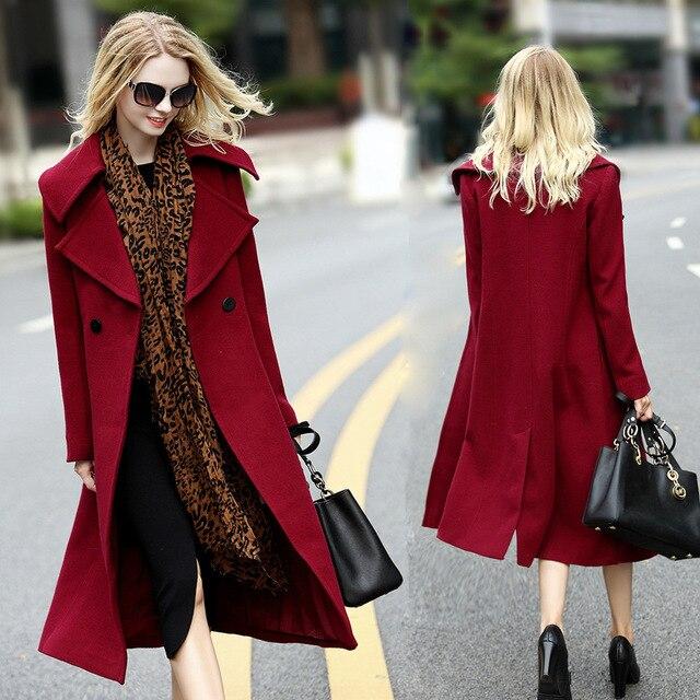 Mode Designer Femmes Laine Cachemire Automne Hiver Manteaux Noble Long  Manteau Poncho Rouge Veste Manteau Élégant 529a4093775