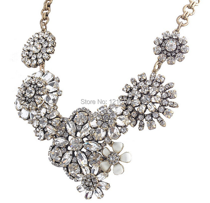 Luxury big brand design clear crystal flower chunky statement luxury big brand design clear crystal flower chunky statement necklace vintage rhinestone chokers bib costume jewelry collares in chain necklaces from mozeypictures Images