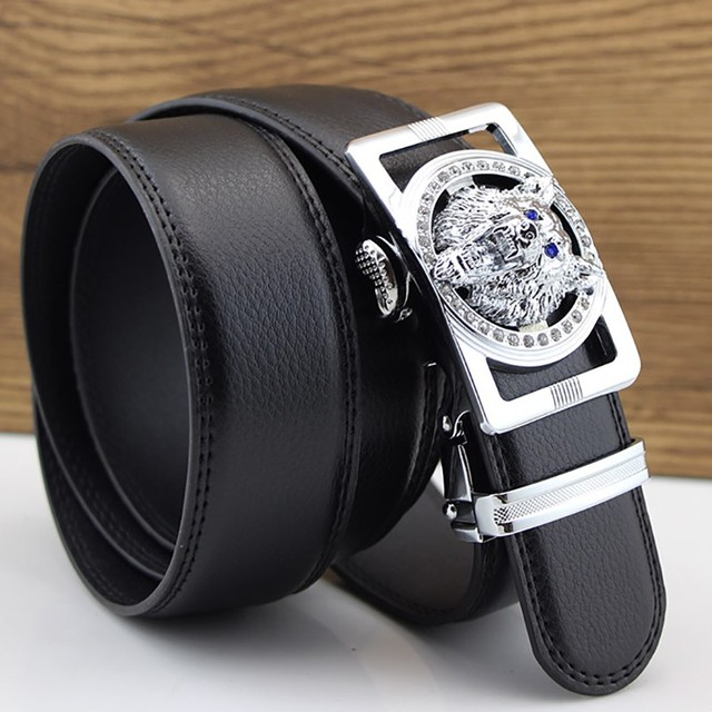 Wolf Designers Luxury Cowhide Brand Genuine Leather Automatic Buckle Belts for Mens High Quality Male Cowskin Ceinture Homme