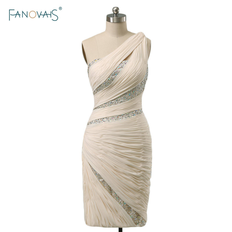 Real Sample Elegant Sexy Crop Top Pleat Beading One Shoulder Sexy Chiffon Girl Evening Party Gowns