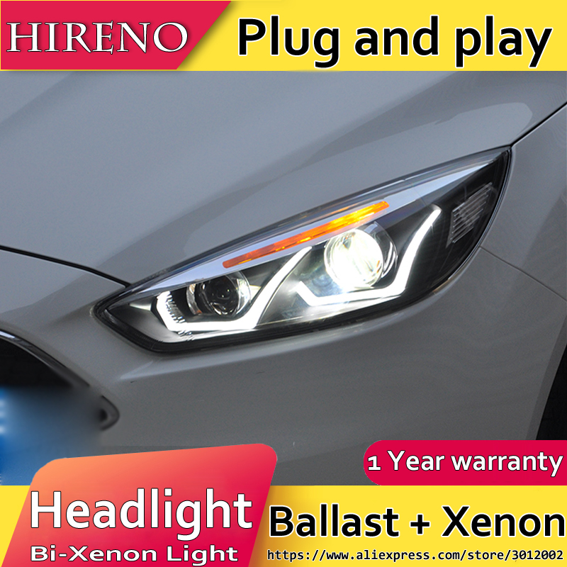 Hireno Car styling Headlamp for 2015-2017 Ford Focus Headlight Assembly LED DRL Angel Lens Double Beam HID Xenon 2pcs hireno car styling headlamp for 2007 2011 honda crv cr v headlight assembly led drl angel lens double beam hid xenon 2pcs