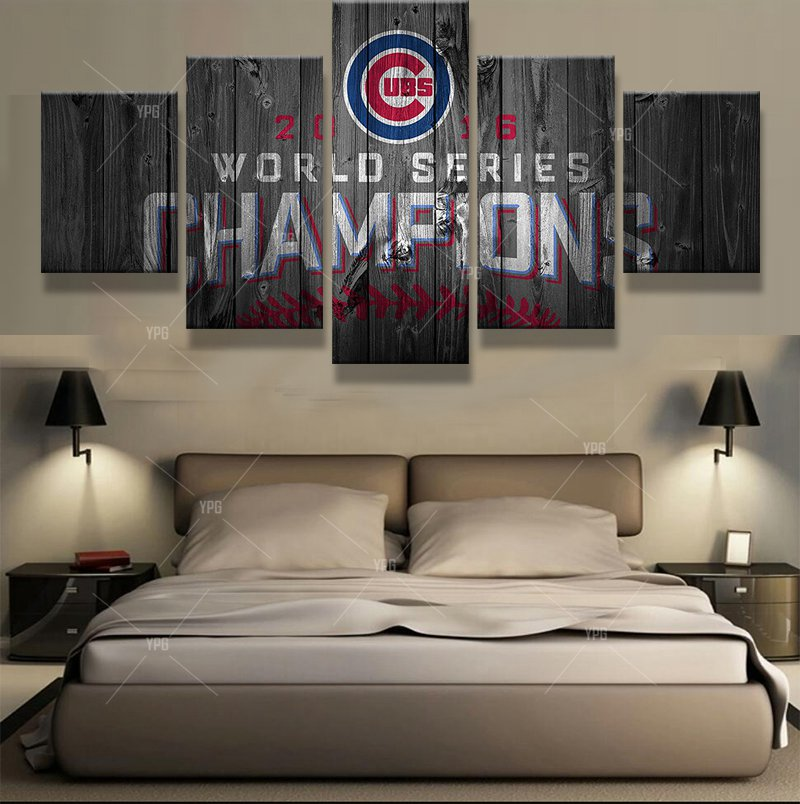 Painting Canvas Baseball Wall Art Pictures Frame Home Decor Hd Print 5 Pieces World Series Champions Cubs Modern Painting Pengda