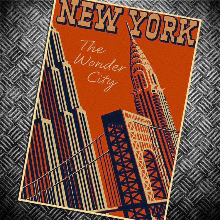la ciudad de nueva york retro cartel poster mapa etiqueta de la pared wallpaper art posters
